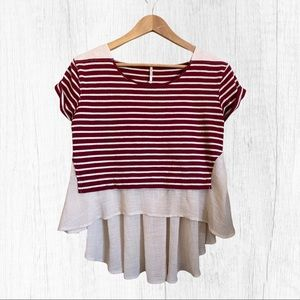 Free People Stripped French Kiss Blouse Sz S